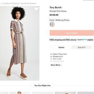 Tory Burch | Striped Polo Midi Dress w/ Belt
